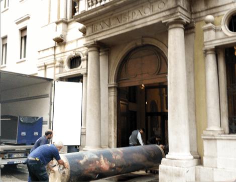 il trasporto di una colonna in marmo