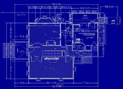 un disegno di un progetto di color blu
