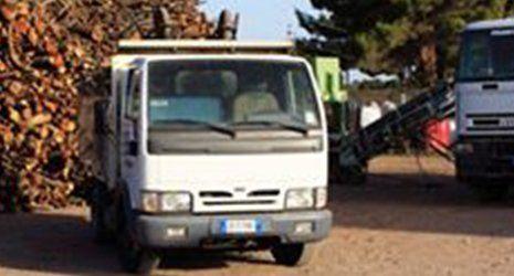 Un camioncino bianco con dietro della legna