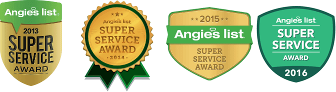 Badges for Super Service awards in 2013, 2014, and 2015