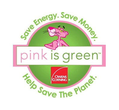 Pink is green tagline for Owens Corning ad