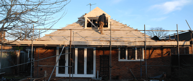 Joinery work being completed on a roof in Lincoln