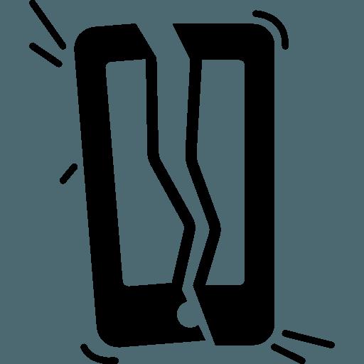 icona di un cellulare rotto