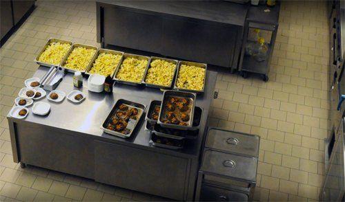 vista dall`alto di una cucina centralizzata