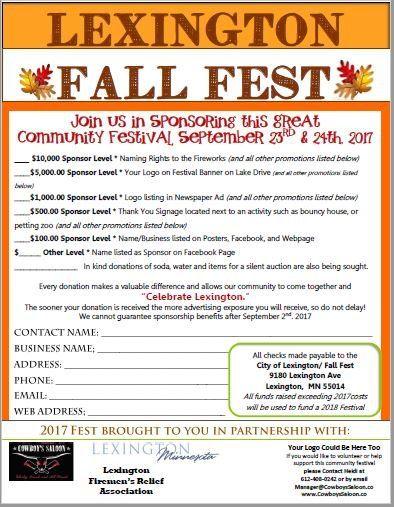 Sponsorship Lex Fall Fest 2017