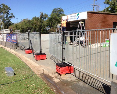 View of temporary pool fence