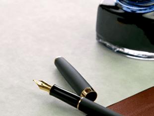 an open ink pen