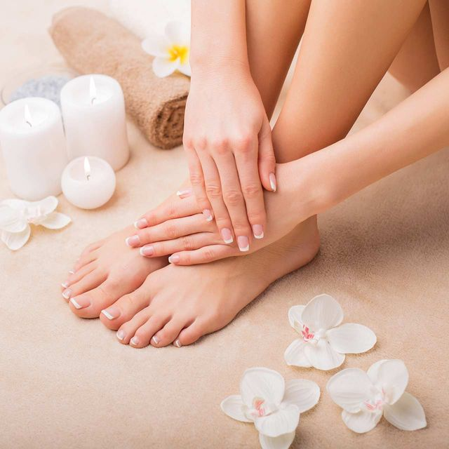 hands and feet at a spa