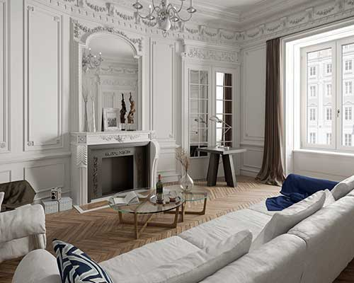 grandi finestre in legno in spazio elegante