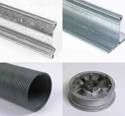 An example of different garage door parts available