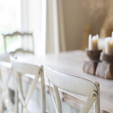 White wooden dining room set