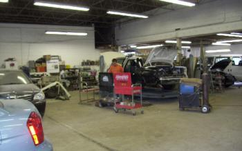 View from inside our auto body repair shop