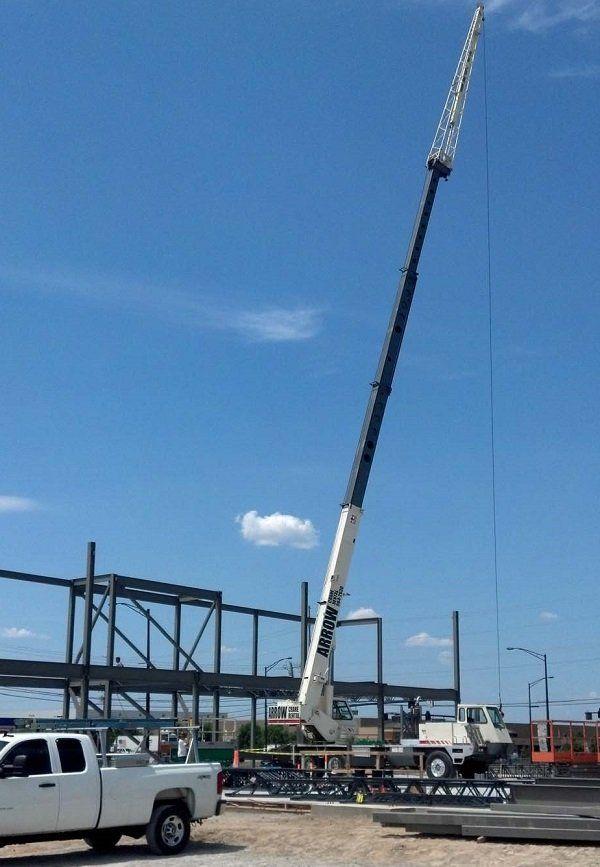 Big crane and truck