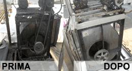 componente di un sistema di tiraggio aria prima e dopo pulizia