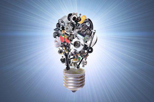lampadina composta da pezzi metallici