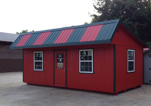 Quality built portable storage building.