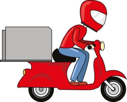 disegno di un ragazzo in motorino portando cibo d'asporto