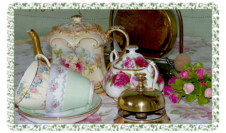 floral china and tea bell