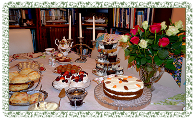 a selection of sticky cakes and fancies