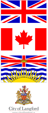 flags of Canada, United Kingdom and the City of Langford