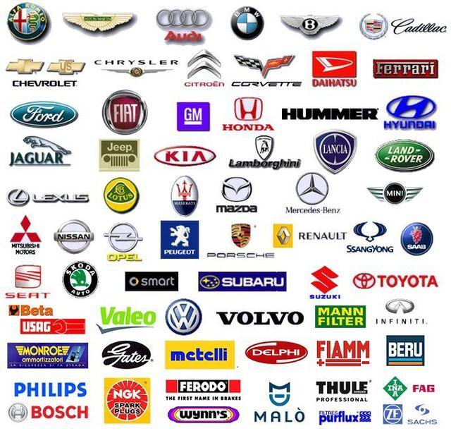 Principali marche di automobili e dei fornitori di pezzi di ricambio