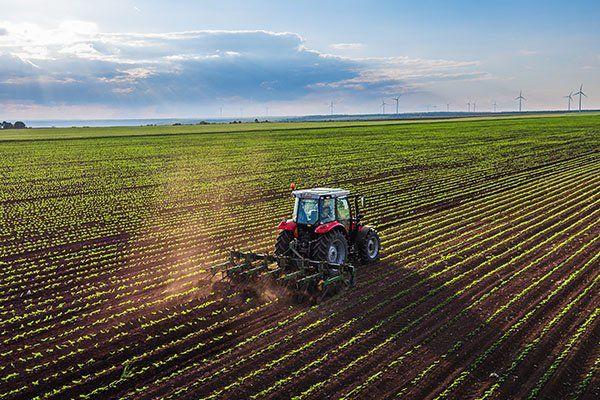 un trattore in un campo agricolo