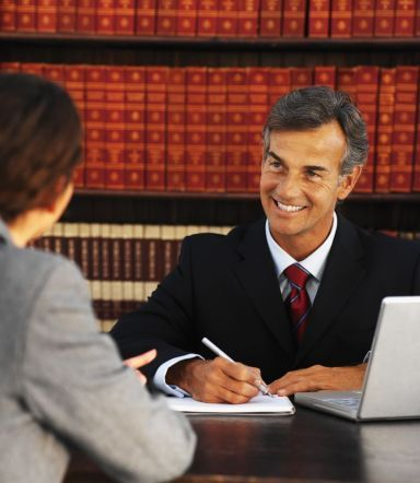 lawyer talking to woman
