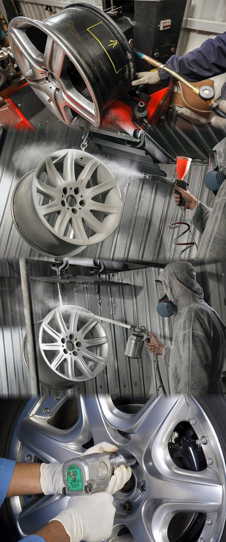 A mechanic performing Sheffield's best value alloy wheel refurbishment