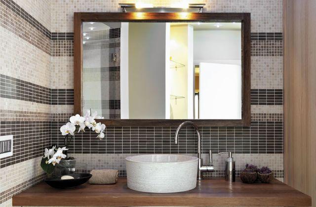 bathroom mirror with custom glass in Canton, GA
