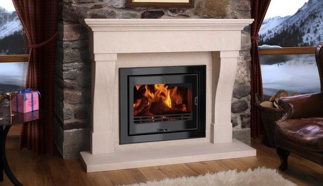 fire lit fireplace