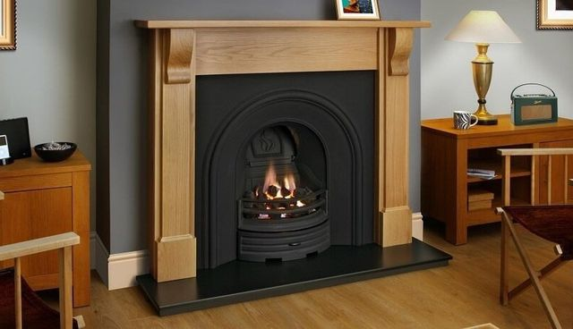 fireplace with a wide chimney