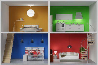 Vista frontale di una planimetria in 3D con quattro stanze dalle pareti in diversi colori