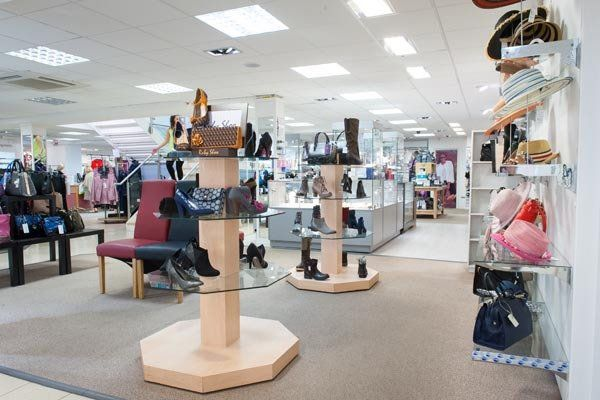A display of fashionable shoes at our department store in Spalding