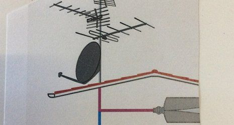 disegno di una parabola  e di alcune antenne tv-Milano