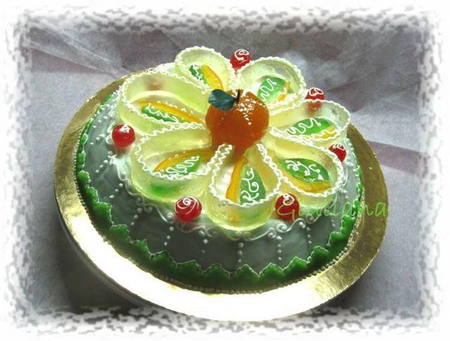 una Torta di frutta e gelatina