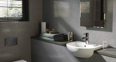 Gray coloured bathroom