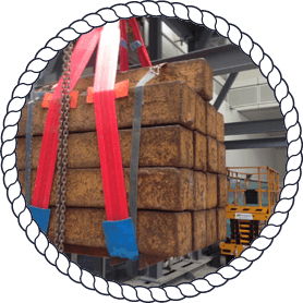 strapped goods on lifting equipment