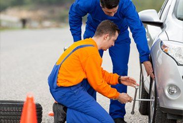 car tyre being replaced
