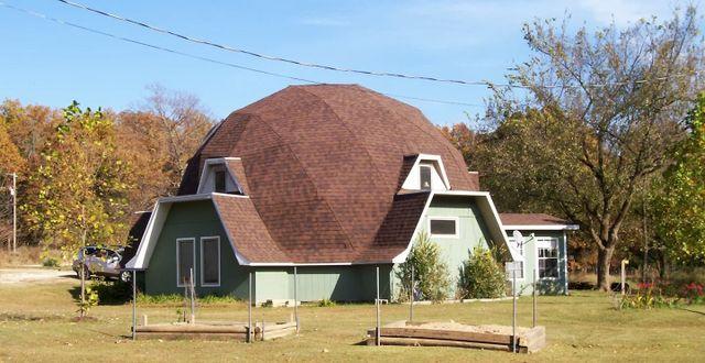asphalt shingles on a geodesic dome