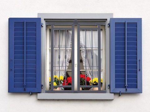 finestra con le inferriate in ferro e persiane blu