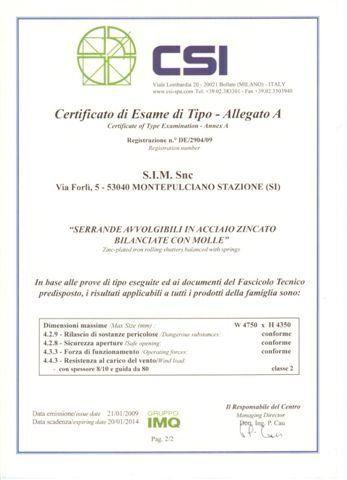 certificato di esame di tipo - Allegato A