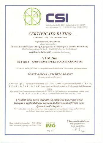 certificato di tipo