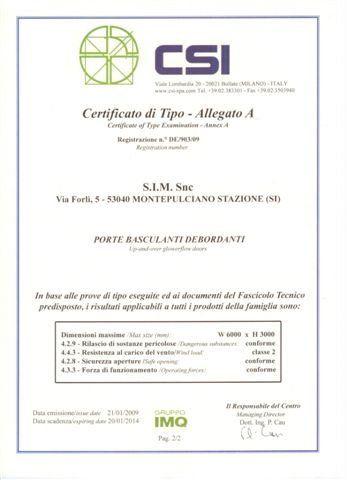certificato di tipo - Allegato A
