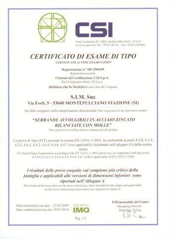 certificato di esame di tipo