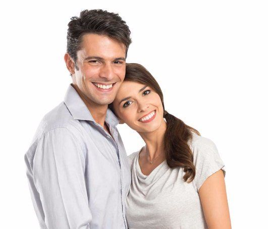young couple smiling happily