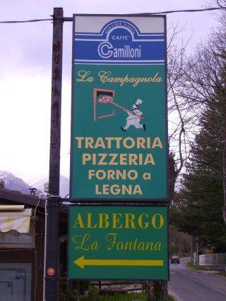 Insegna del ristorante La Campagnola e dell'albergo La Fontana