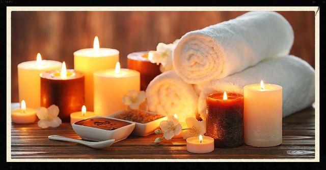 Candele e asciugamani per relax