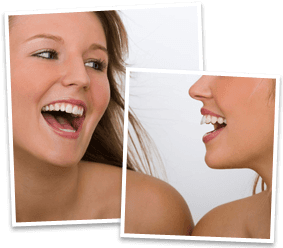 Front and profile view og laughing young lady with white teeth