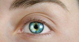 occhio chiaro con lente a contatto
