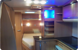 Inside of a modern, high end, caravan